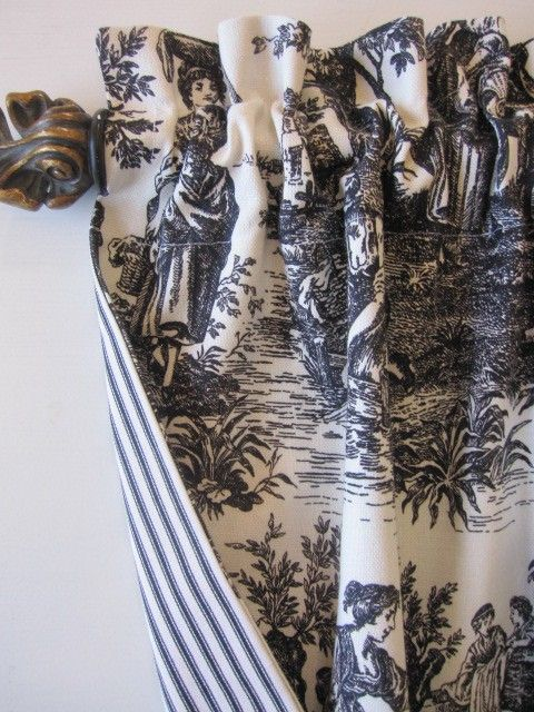 vintage print, love it. (way to combine two fabrics--can even pleat the valance and have contrast in the pleat--L)