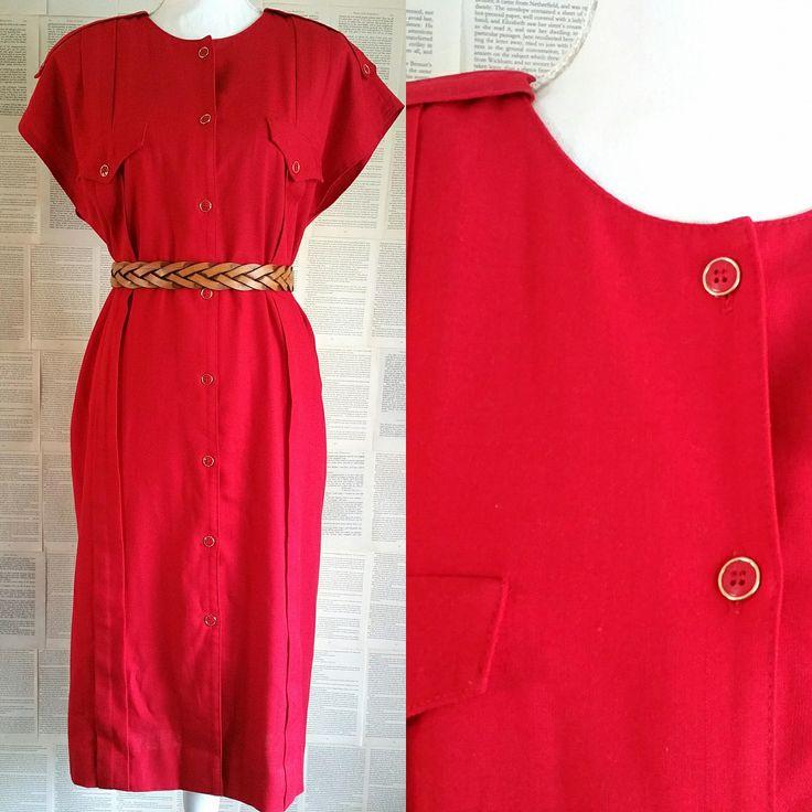 Red Vintage Day Dress - Size 18 by MyVintageSundays on Etsy