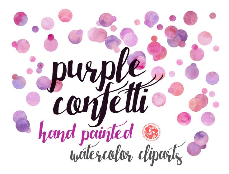 WATERCOLOR CONFETTI - hand painted watercolor background, watercolor dots, purple pink confetti, watercolor cliparts by AnkuGraphics on Etsy
