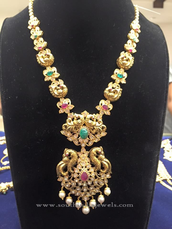 Gold Pachi Haram Designs, Gold Pachi Long Necklace Designs.