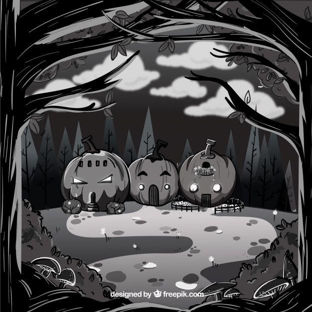 Fundo de Halloween com estilo desenhado a mão Vetor grátis