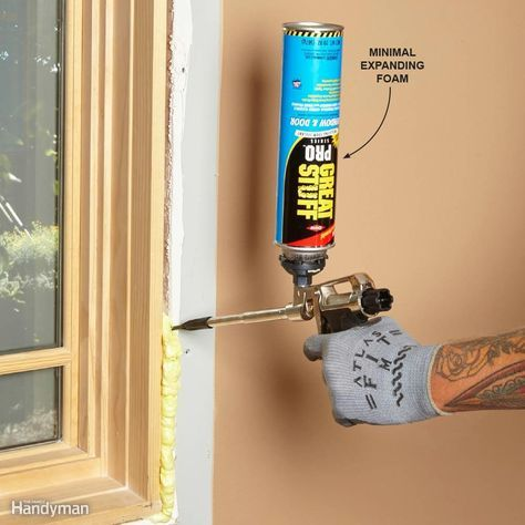 Play It Safe Around Windows and Doors Sealing around windows and doors is one of the most common uses for expanding foam. But it can actually push the jamb inward, making them impossible to open. Avoid this by using minimal expanding foam. It's formulated to fill the space around windows and doors without excess expansion. Look for cans labeled for use on windows and doors.