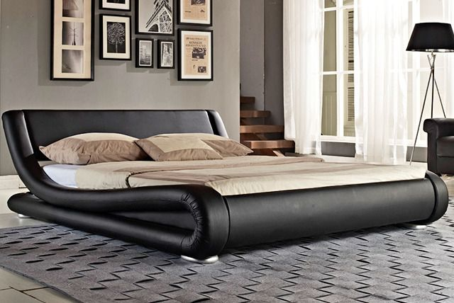 Get a curved faux leather bed in double or king size.