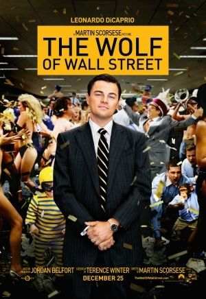 The Wolf of Wall Street: A man in a suit with a big smile on his face. Behind him a chaotic office scene.