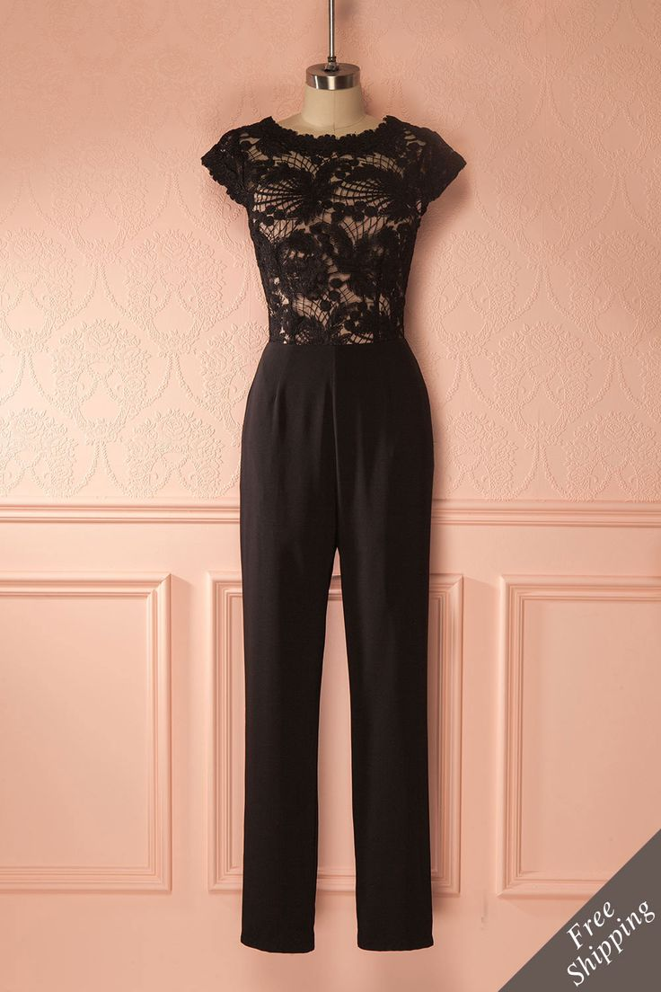 Rhéane - Black jumpsuit with lace details