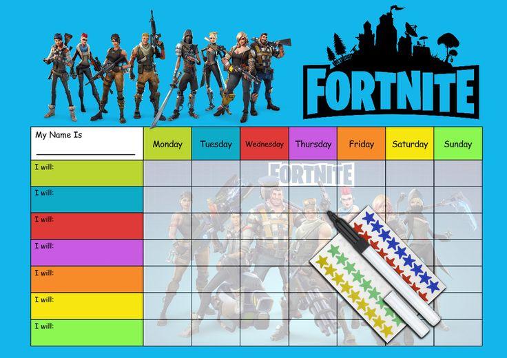 FORTNITE Behaviour Reward Chart - Re-usable chart + pen ...