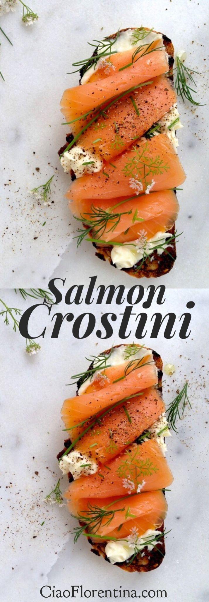 Smoked Salmon Crostini Recipe with Italian Mascarpone Cheese and Herbs | CiaoFlorentina.com @CiaoFlorentina