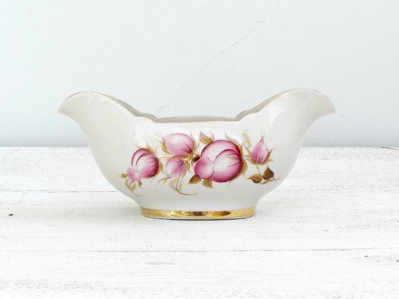 Pink Floral Gravy Boat Porcelain Gold rim Cottage by MeshuMaSH, $20.00