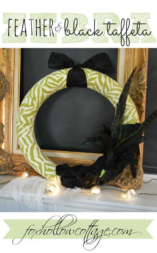 Zebra, Feather and Black Taffeta Wreath - DIY Home Decor Craft Tutorial at foxhollowcotttage.com