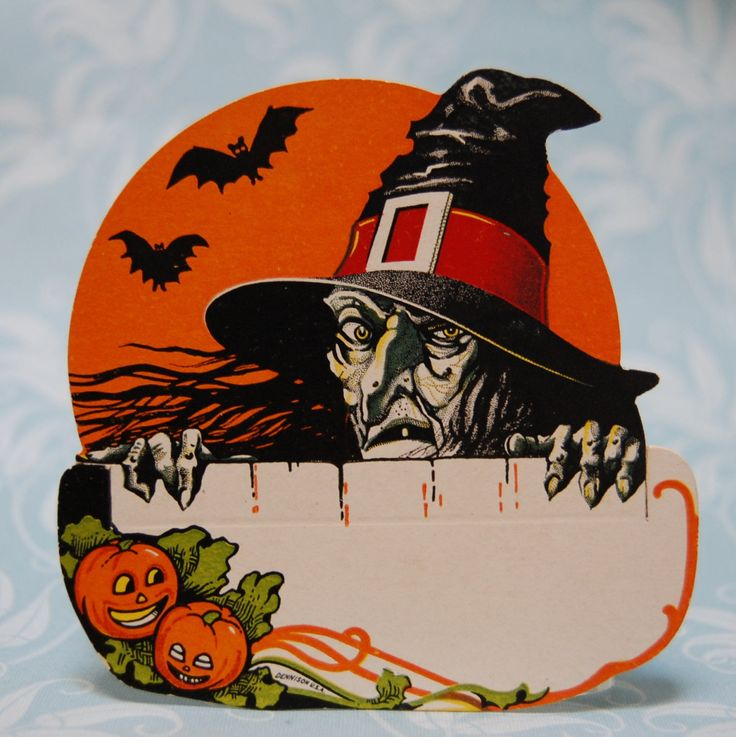 rare 1930s dennison vintage halloween witch place card by feraliavintage on etsy - Antique Halloween Decorations