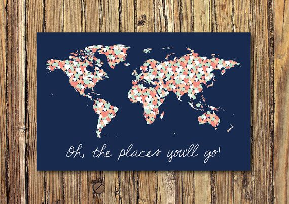 Oh, The Places Youll Go World Map with Hearts - CANVAS    Make a huge statement in your home with this gorgeous world map canvas. You can