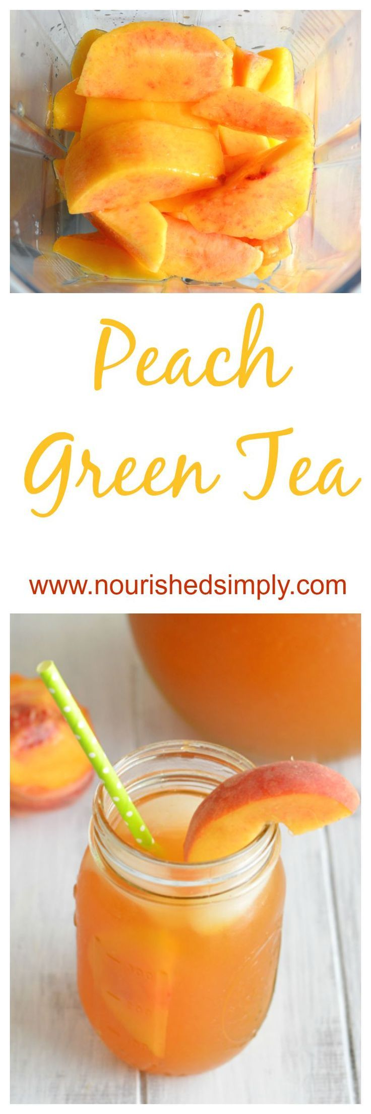 Dreaming of Summer and sipping this refreshing peach green tea made with fresh peaches.  This is a perfect summer drink recipe.