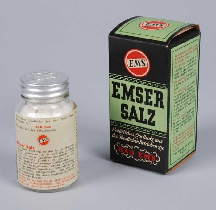 Emser Salz - het in water opgeloste zout kon worden ingenomen, opgesnoven, de keel gegorgeld en de ogen gespoeld - bij griep, verkoudheid, hoesten, heesheid,obstructie door slijm en brandend maagzuur