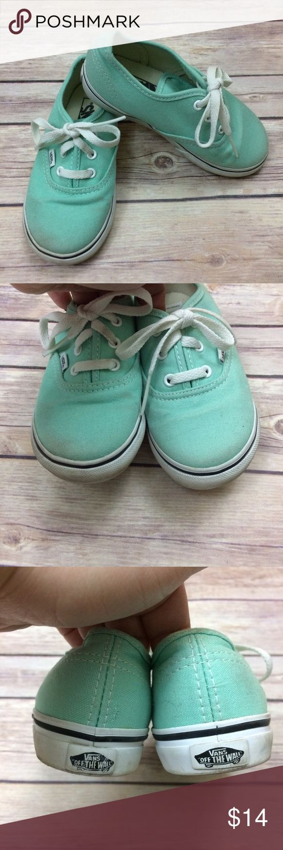 Vans Canvas Shoes Mint green laced canvas shoes. Needs a light cleaning, otherwise in excellent used condition. 12012 Vans Shoes Sneakers
