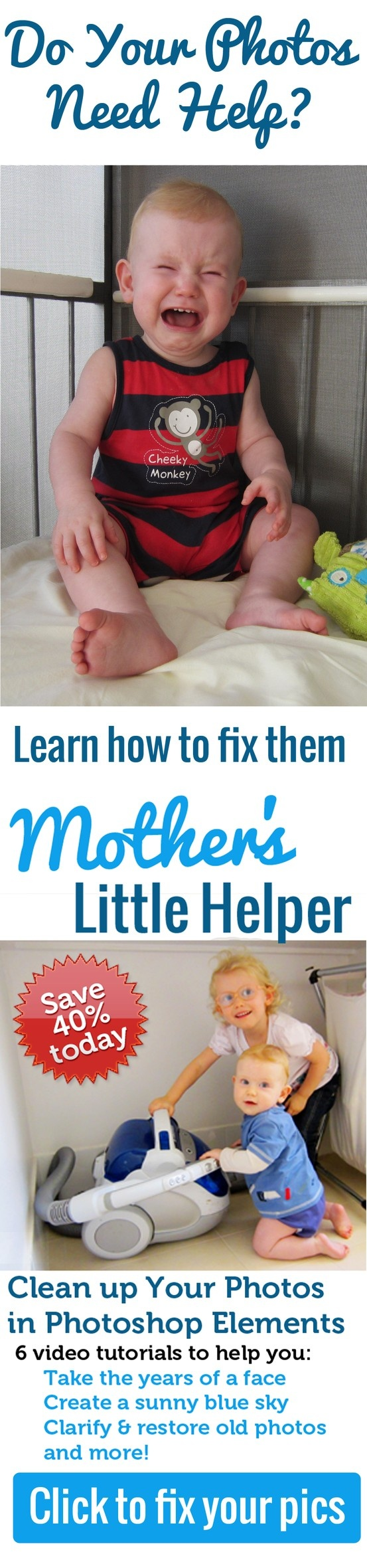 Just $17 to learn 6 Photo Fixes to get your photo needing help http://www.digitalscrapbookinghq.com/mothers-helper/