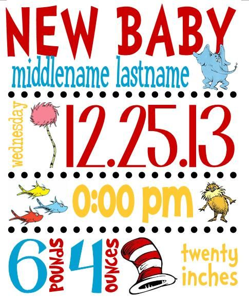 Dr. Seuss Nursery Decor - Birth Stats https://www.facebook.com/KudlacsKustoms