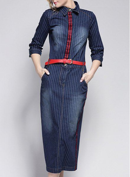 Simple Long Sleeve Belted Bleach Wash Denim Dress For Women