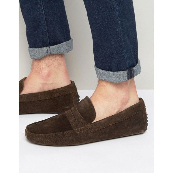 ALDO Feiria Suede Penny Loafer drivers ($76) ❤ liked on Polyvore featuring men's fashion, men's shoes, men's loafers, brown, mens brown shoes, mens slipon shoes, mens suede shoes, mens brown loafer shoes and mens penny loafer shoes