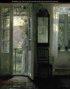Carl Vilhelm Holsøe - Girl Standing on a Balcony