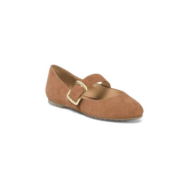 Suede Ballet Flats With Buckle ($30) ❤ liked on Polyvore featuring shoes, flats, ballet shoes, ballet shoes flats, round cap, ballerina pumps and round toe flats