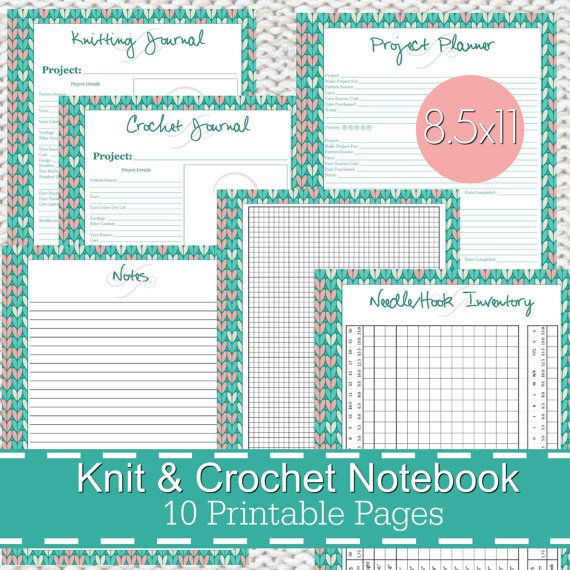 Knitting Crochet Planner Notebook Journal Printables PDF
