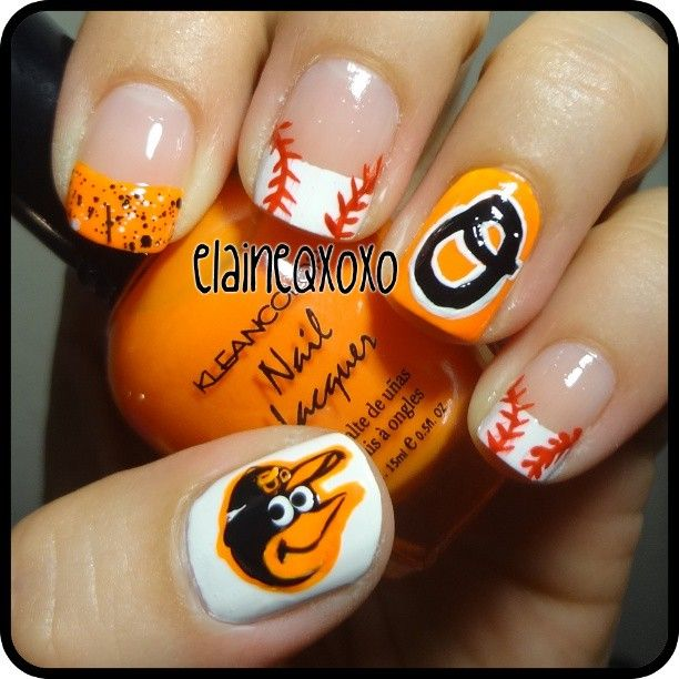 baltimore orioles by  elaineqxoxo  #nail #nails #nailsart