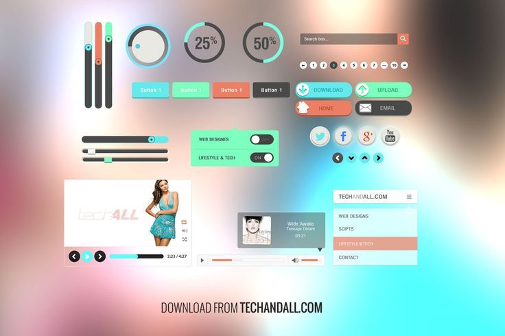 Free Simple UI Kit with Flat Colors