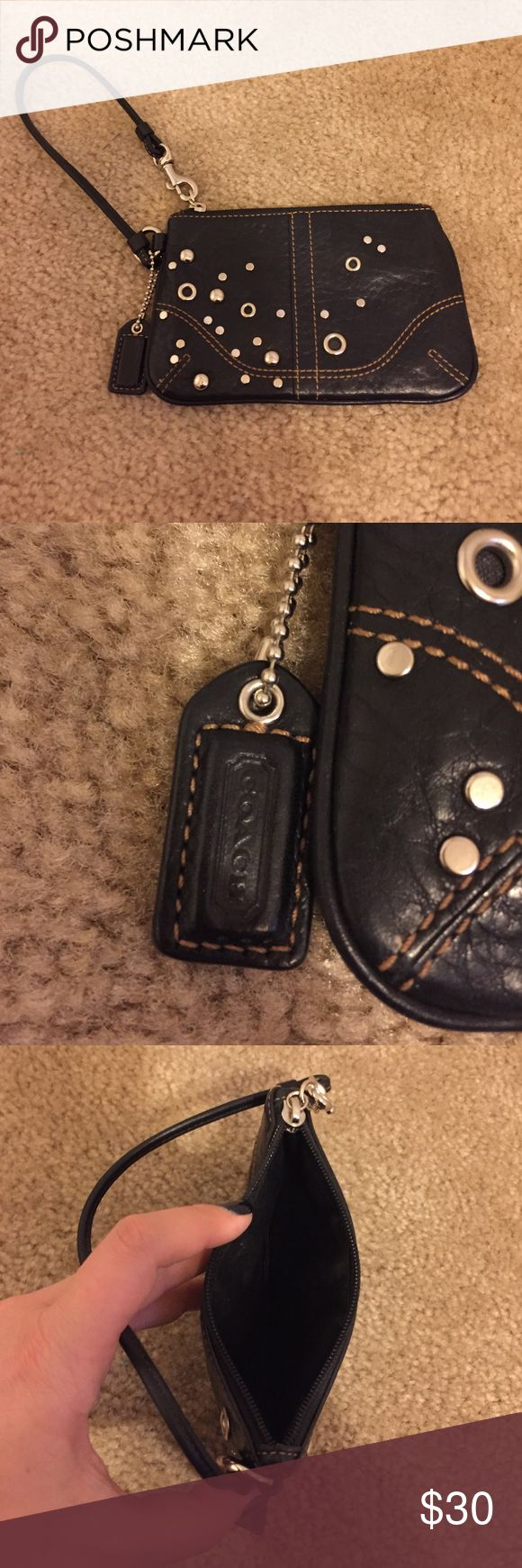 Black Studded Coach Wristlet Excellent/Barely Used Black Leather and Studs Coach Wristlet Coach Bags Clutches & Wristlets