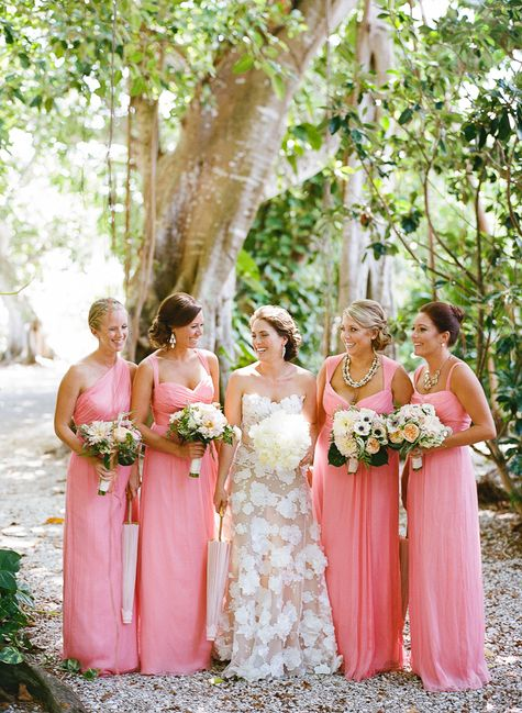 Pink Bridesmaids Gowns | Divine Light Photography | TheKnot.com