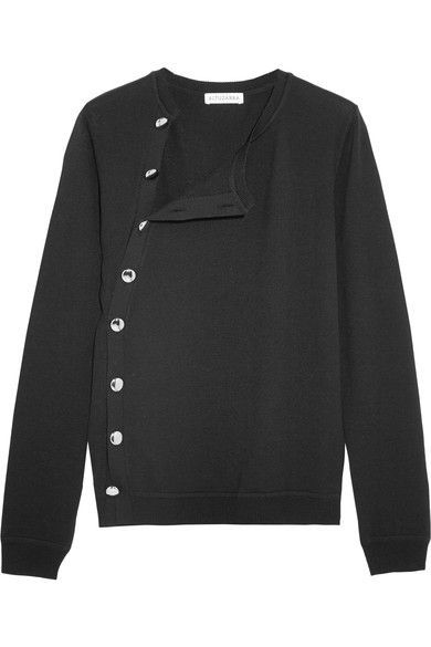 Black merino wool Asymmetric button fastenings through front 100% merino wool Dry clean Made in Italy