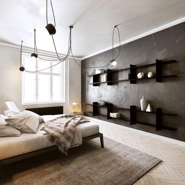interior black and white.  Designed by FuuXo.  Shelf system - fuuxo.com