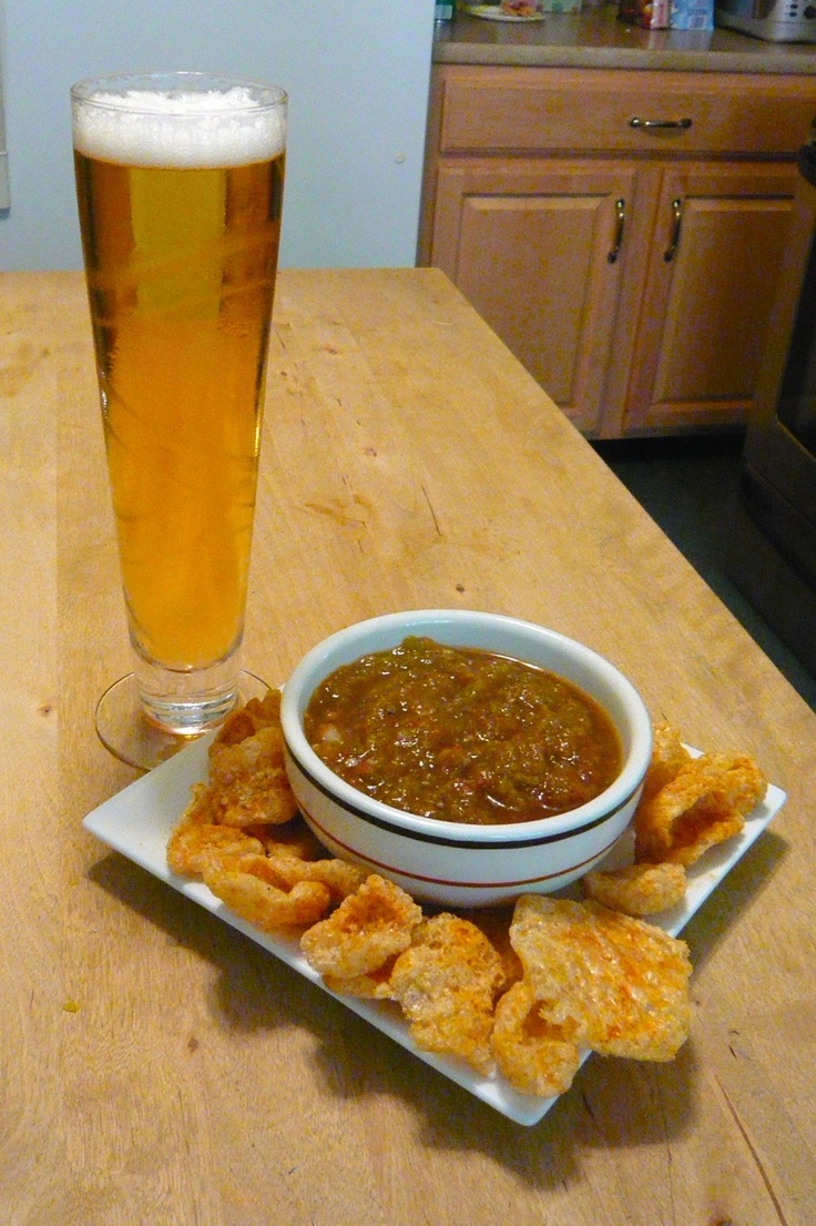 This is snacking done right! Unwind with your favorite brew and spicy pork rinds paired with a salsa of choice! #NationalSalsaMonth