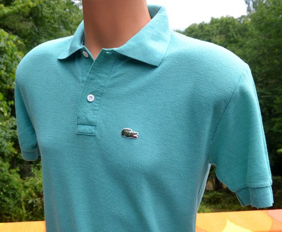 Vintage 80s chemise lacoste golf polo shirt green blue for Lacoste shirts with big alligator