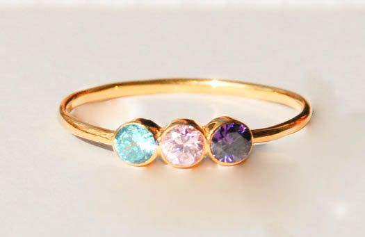 ~ Three Birthstone Ring! It is a special gemstone ring. ~ Two birthstone ring can represent family members, lovers, children, sisters or best