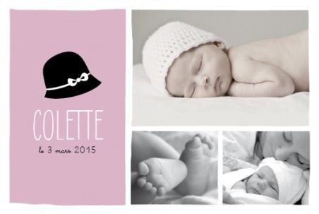 faire-part de naissance coquette paysage 3 photos by Marion Bizet pour www.fairepartnaissance.fr #chapeau #cloche #fille
