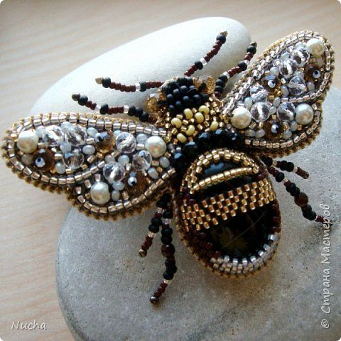 Unique handmade beaded brooches