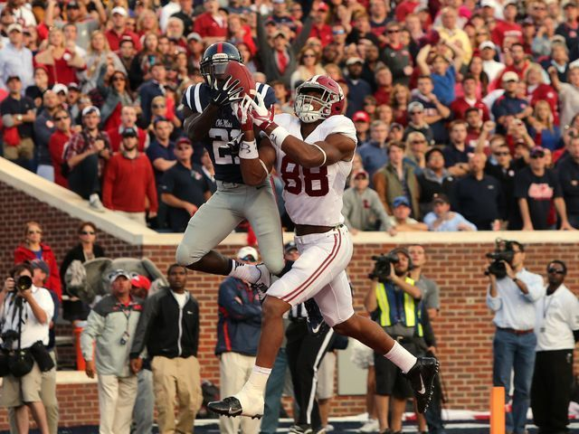 Former Rebel great Senquez Golson intercepts and insures victory over Bama!!