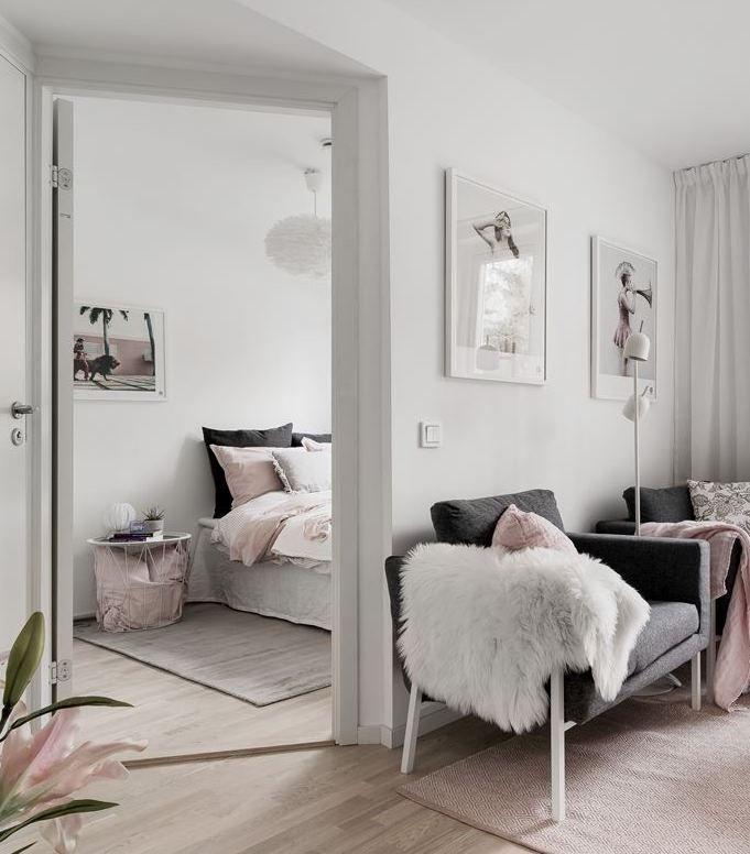 Déco gris rose : visite d\'un appart douillet | Salon | Chambre rose ...