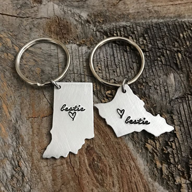 Best Friends Gift BFF Gift Best Friends Keychain Bestie Gift State Keychain Long distance relationship Long distance friendship going away by TheLonelyMoose on Etsy
