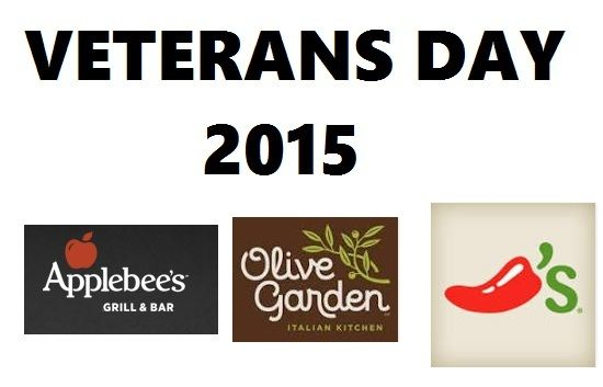 About.com has produced a fabulous list of FREE! Food for Veterans and Active Duty Military on Veterans Day, Wednesday, November 11, 2015 with listings for Chili's, Olive Garden, Applebee's, and other popular restaurants. Please note: …