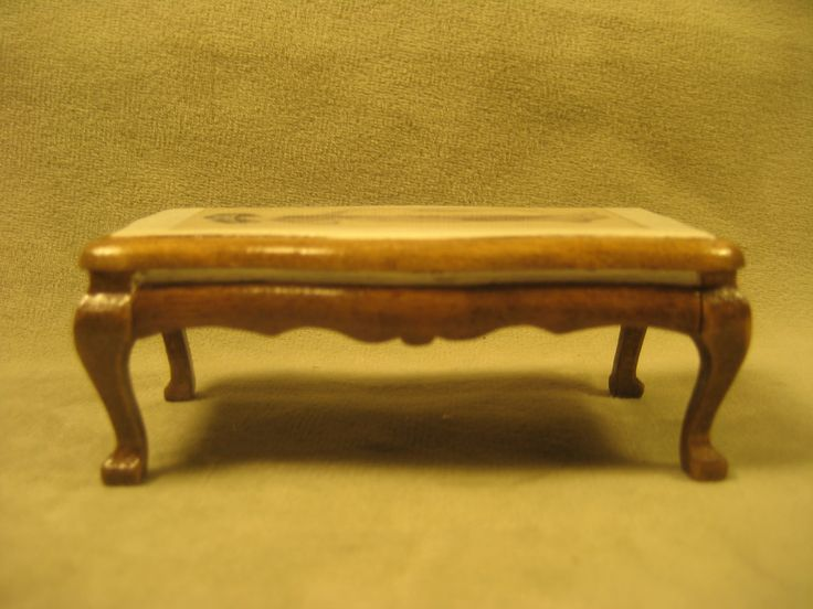 Miniature Doll House, Vintage, Victorian, Coffee Table W In Layed Faux  Leather