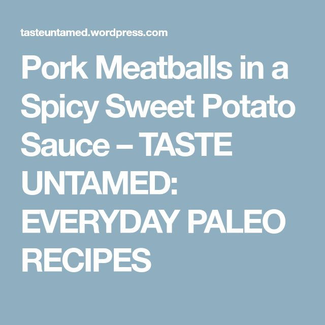 Pork Meatballs in a Spicy Sweet Potato Sauce – TASTE UNTAMED: EVERYDAY PALEO RECIPES