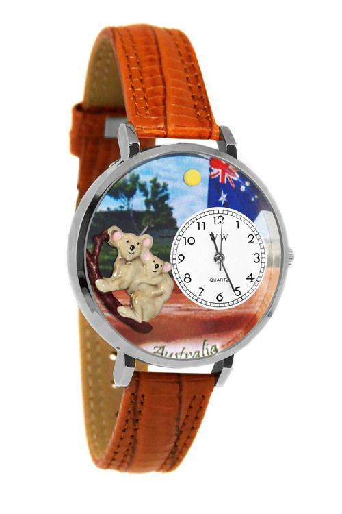 Whimsical Watches Australia Tan Leather And Silvertone Watch