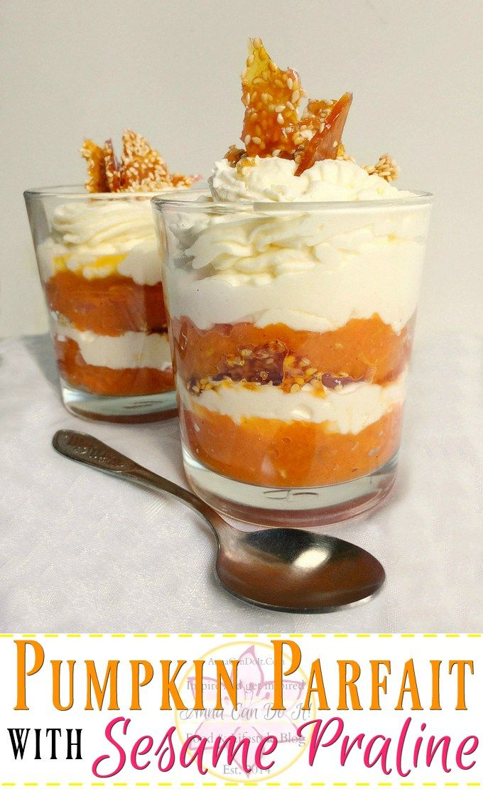 Pumpkin Parfait With Sesame Praline- Anna Can Do It! - Fancy and delicious Pumpkin Parfait With Sesame Praline. Simple and quick dessert recipe with pumpkin spice pumpkin purée, mascarpone cream and crunchy sesame praline.