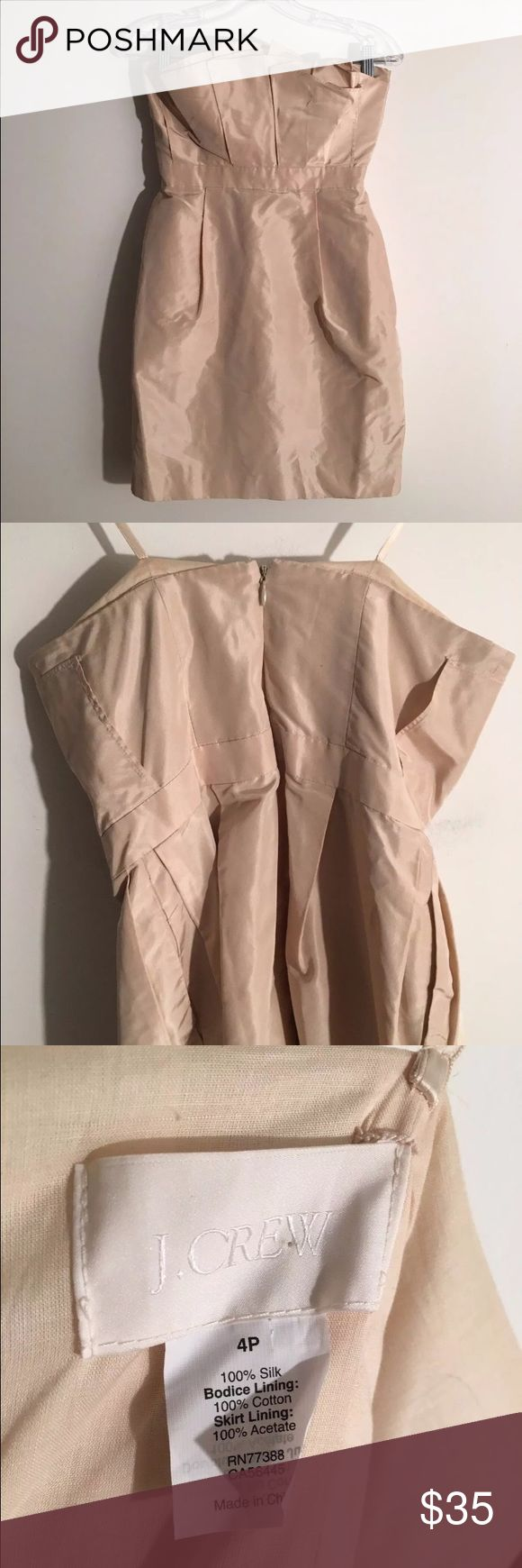 J.Crew Nude Beige Silk strapless petite Mini Dress 100% silk mini dress. Elegant and beautifully. Perfect for a cocktail party or summer wedding. Mark on the lower bottom back of dress. Origami like folds on front. Size: 4P (Petite) Strapless. J. Crew Dresses Mini