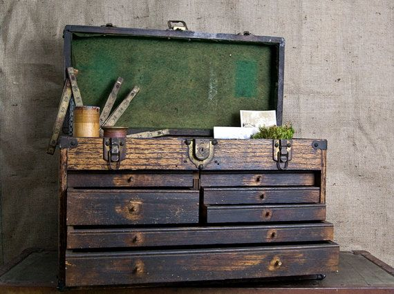 Vintage Machinist Wood Tool Box with Yale Lock by WinterFinds, $349.00