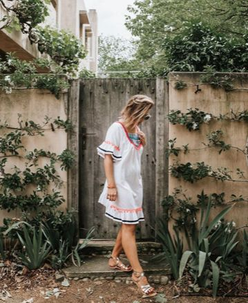 @iheartbargains wears the Nicole dress by Lucciola 100% cotton with fun and bright details perfect for fun, sunny day!