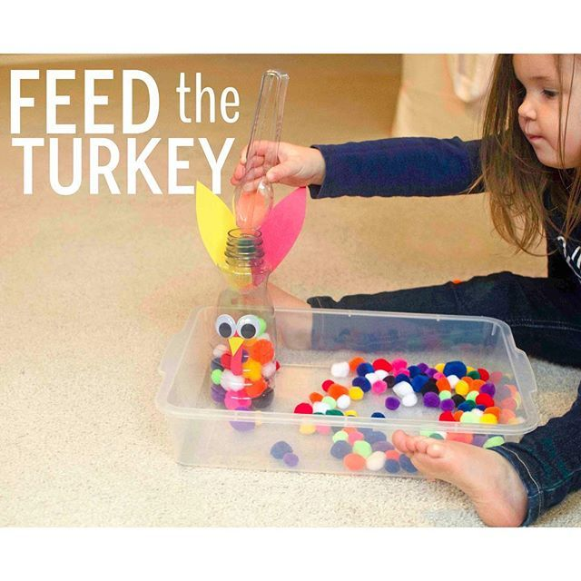 """🦃FEED the TURKEY🦃 Welp, it's been a week since I set up this project and yeah, hasn't gotten old yet 😂This is officially our go-to Thanksgiving activity and I'm just going to leave it out until Turkey Day 📆 All I did was take Kate's Grab & Drop activity from a few weeks ago and """"turkey'd it up"""" 👍🏻 I added some googly eyes, tail feathers, a face and suddenly, this is no long an old creamer bottle but a turkey Kate desperately needs to feed 🌽 Anything animals and Kate (2.5y) is all in…"""