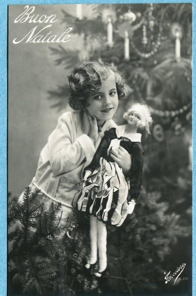 Real photo Christmas postcard, Girl with fashion doll, Fotocolere 113 | eBay
