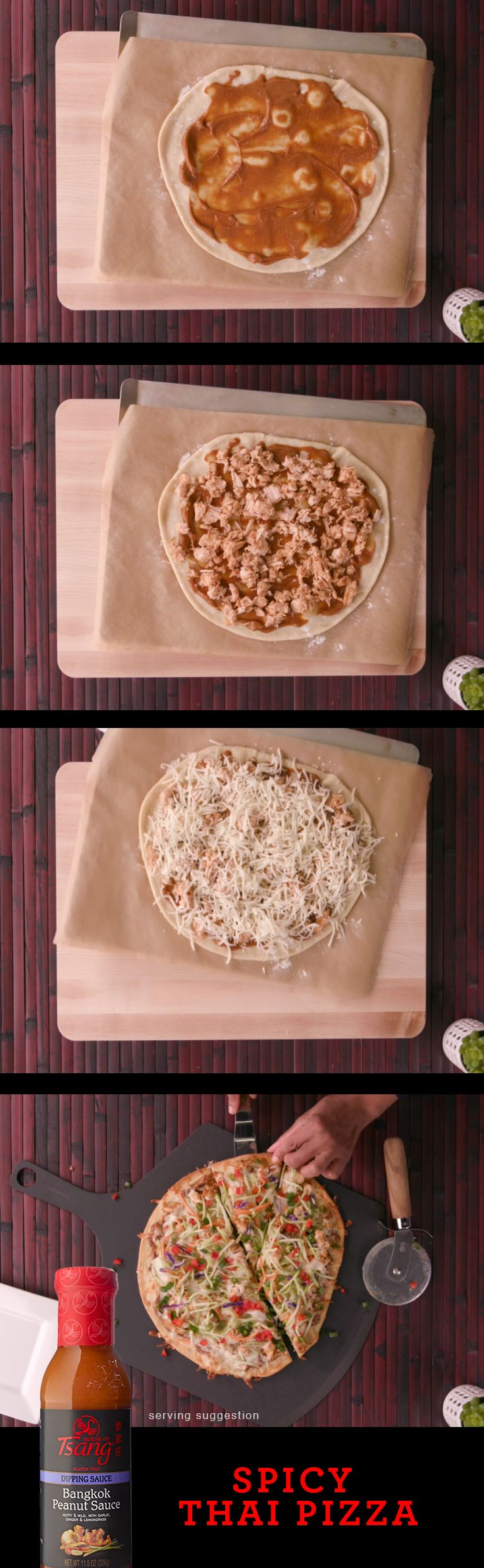 This Spicy Thai Pizza made with HOUSE OF TSANG® Bangkok Peanut Sauce is perfect for sharing! | Thai Flavor | Easy Meal | Asian Cooking